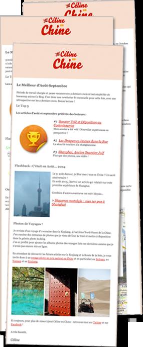 Aperçu Newsletter Céline en Chine